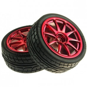 D65mm Rubber Wheel Pair - Red