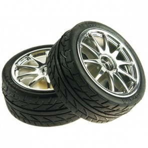 D65mm Rubber Wheel Pair - Silver